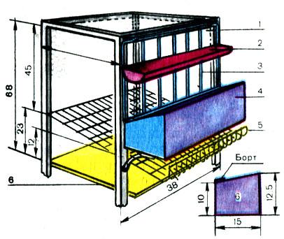 Схема клетки для кур-несушек: