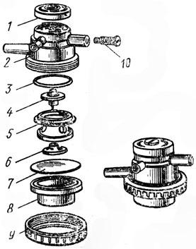 Рис. 13. Пульсатор доильного аппарата ДА-2М 'Майга': 1 - крышка, 2 - корпус, 3 - прокладка, 4 - клапан, 5 - диффусор, 6 - шайба, 7 - мембрана, 8 - корпус камеры, 9 - гайка, 10 - регулировочный винт