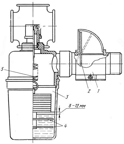 Рис. 39. Вакуум-регулятор в сборе с индикатором: 1 - индикатор, 2 - флажок индикатора, 3 - регулятор, 4 - шайбы, 5 - пружины
